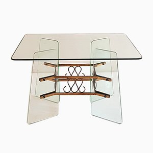 Glass & Brass Coffee Table, 1950s