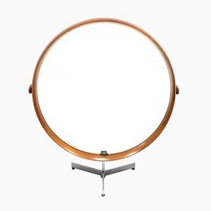 Miroir de Table Rond en Teck par Uno et Östen Kristiansson pour Luxus, 1960s