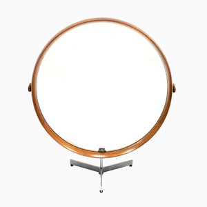 Round Teak Table Mirror by Uno & Östen Kristiansson for Luxus, 1960s
