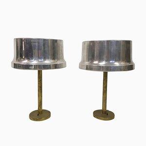Vintage Brass & Aluminium Table Lamps, Set of 2