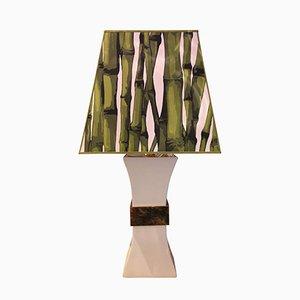 Lámpara de mesa de latón dorado y cerámica de Gabriella Crespi, años 80