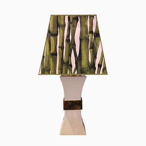 Table Lamp in Ceramic and Golden Brass by Gabriella Crespi, 1980s