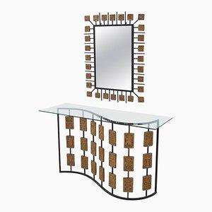 Mesa consola vintage de metal lacado y terracota con espejo