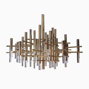 Chandelier in Aluminium & Glass by Gaetano Sciolari, 1960s