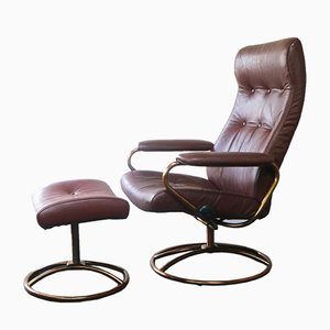 Mid-Century Norwegian Reclining Chair and Ottoman from Ekornes Stressless