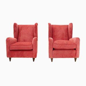 Italian Velvet Armchairs, 1950s, Set of 2