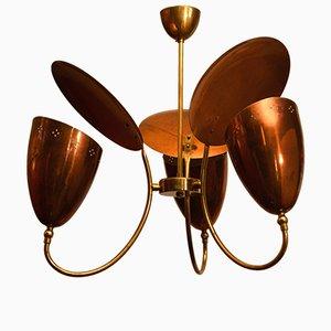 Lámpara de araña de 3 brazos con reflector de latón y cobre perforado, años 50
