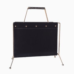 Leather and Brass Magazine Rack, 1950s