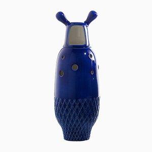 Vase Nº 5 Showtime Intérieur Blanc et Extérieur Bleu par Jaime Hayon pour BD Barcelona