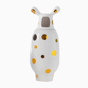 Vase Nº 2 Blanc Showtime 10 avec Pois Dorés par Jaime Hayon pour BD Barcelona
