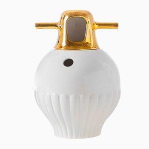 Vaso Showtime 10 nr. 3 bianco con coperchio dorato di Jaime Hayon per BD Barcelona
