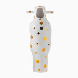 Showtime 10 Vase Nº 4 in Weiß mit goldenen Punkten von Jaime Hayon für BD Barcelona