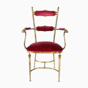 Mid-Century Modern Italian Brass Armchair, 1950s