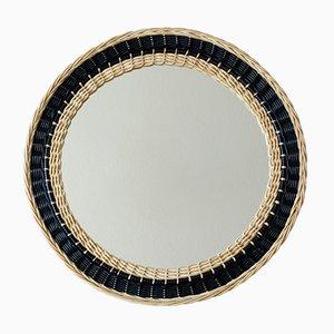Zweifarbiger Vintage Rattan Spiegel