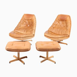 Lounge Chairs & Ottomans by Madsen & Schübel, 1960s