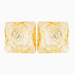 Amber Glass Flush Mounts, 1960s, Set of 2