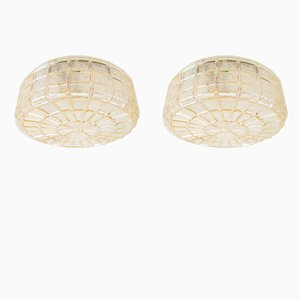 Amber Glass Structured Flush Mount Ceiling Lamps, 1960s, Set of 2