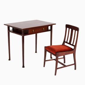 Art Nouveau Dutch Mahogany Desk & Chair by Karel Sluyterman for Onder den Sint Maarten, 1900s