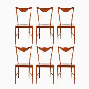 Mid-Century Dining Chairs with Sculptural Backrest, Set of 6