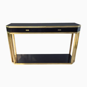 Table Console en Laiton Noir de Jean Claude Mahey, France, 1970s