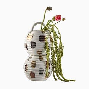 Grasso Vase in Weiß mit Kreisen von Stephen Burks für BD Barcelona