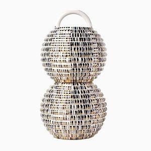 Grasso Vase Double Lines White by Stephen Burks for BD Barcelona
