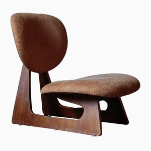 Teiza Lounge Chair with Case Leather by Junzo Sakakura for Tendo Mokko, 1960s