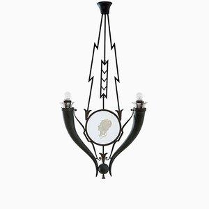 Lámpara colgante de vidrio y metal de Gio Ponti, años 20