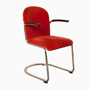 Model 413-RH Red Armchair by Willem Hendrik Gispen for Gebroeders van der Stroom, 1930s