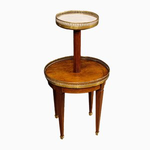 French Wood & Marble Top Side Table with Stand