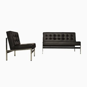 Minimalistic 020 Leather Lounge Set by Kho Liang Ie for Artifort, 1950s