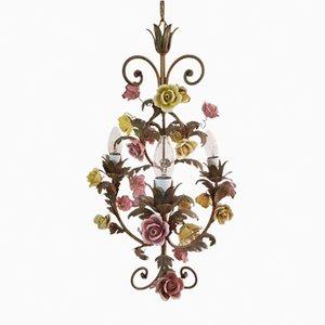 Floraler italienischer Porzellan Kronleuchter, 1950er