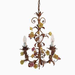 Lámpara de araña italiana con flor de porcelana, años 50