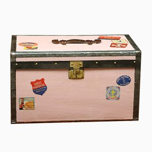 Pink Travel Trunk with Hotel Labels, 1920s