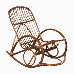 Rocking Chair en Osier Courbé & Rotin de Rohé Noordwolde, 1950s