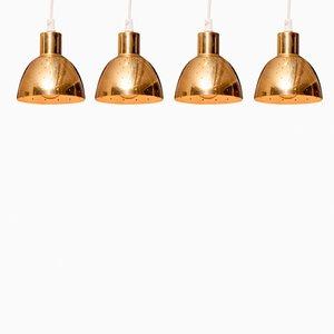 Lámparas colgantes de latón de Hans-Agne Jakobsson para Markaryd, años 60. Juego de 4