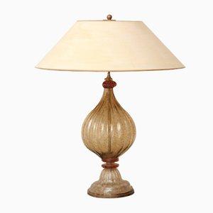 Lampada da tavolo vintage color cognac e crema in vetro di Murano, anni '70