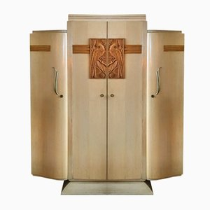French Art Deco Wardrobe in Durmast, 1930s
