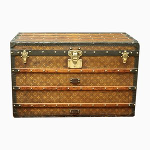 Antique Steamer Monogram Trunk with Woven Canvas from Louis Vuitton, 1900s