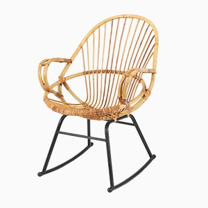 Mid-Century Modern Rattan Rocking Chair by Gebroeders Jonker for Rohé, 1960s