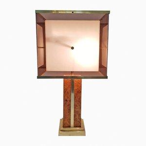 Lámpara de mesa vintage de latón y madera nudosa
