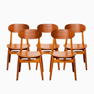 Dining Chairs by Alf Svensson for Hogafors Stolfabrik, 1950s, Set of 5