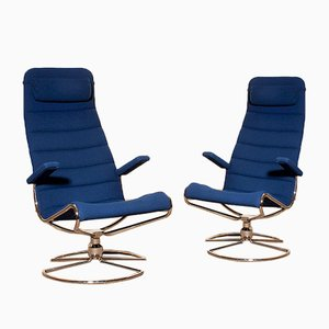Royal Blue Minister Swivel Chairs by Bruno Mathsson, 1980s, Set of 2