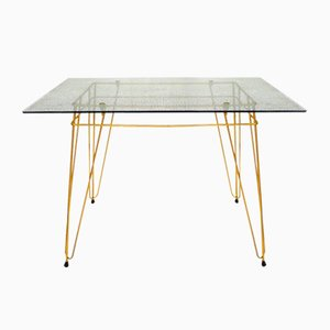 Vintage Metal and Glass Coffee Table, 1950s