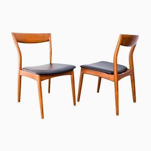 Chaises en Teck & Cuir, 1960s, Danemark, Set de 6