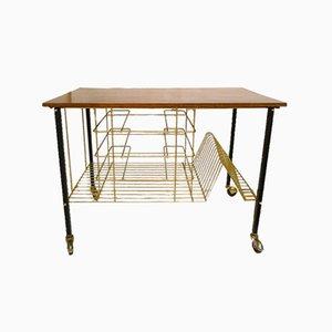 Carrello da portata con ripiano superiore in teak e ripiani inferiori in metallo dorato, anni '60