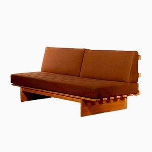 Sofá cama de roble y lana marrón de Bra Bohag para Dux, años 80