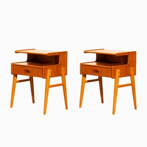 Vintage Swedish Teak Nightstands, Set of 2