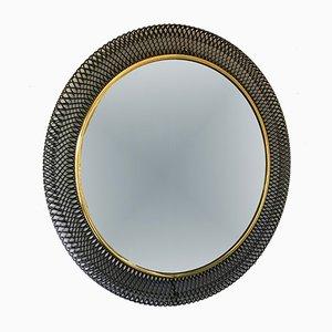 Circular Black Metal Mirror, 1960s