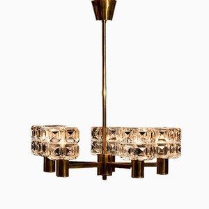 Schwedischer Messing & Kristallglas Kronleuchter von Tyringe Konsthantverk, 1950er